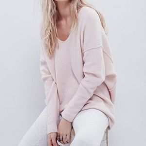 Free People Softly Vee V Neck Light Pink Sweater